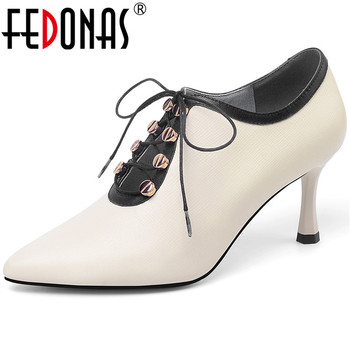 FEDONAS  Women Pumps Metal Decorative Lace Up Cow Leather High Heeled Spring Summer Working Shoes Pointed Toe Shoes Woman