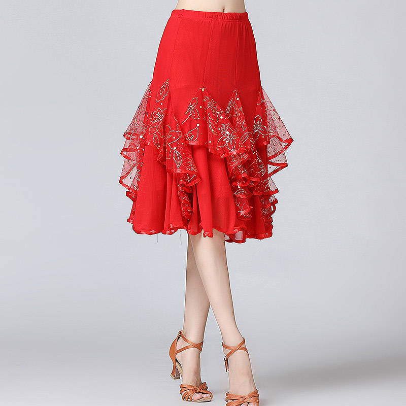 Image 4 - New Ballroom Dance Skirts Women Latin Tango Modern Dancing Skirts National Standard Waltz Flamenco Competition Dance DressBallroom   -