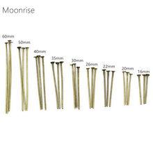 Pinos de cabeça plana dourados, 100-200 peças 16 20 25 30 35 40 50 55 60mm pinos de cabeça de metal de prata/rodio para produção de jóias