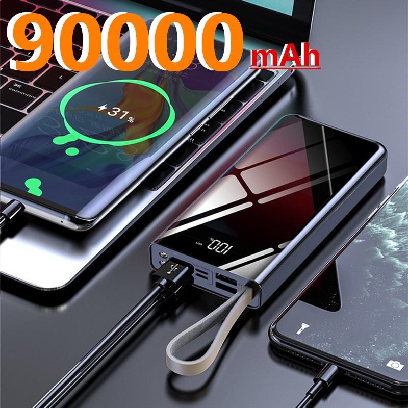 90000 mAh haute capacité batterie de puissance téléphone Portable chargeur rapide Portable voyage Powerbank pour Xiaomi Samsung IPhone appauvrbank