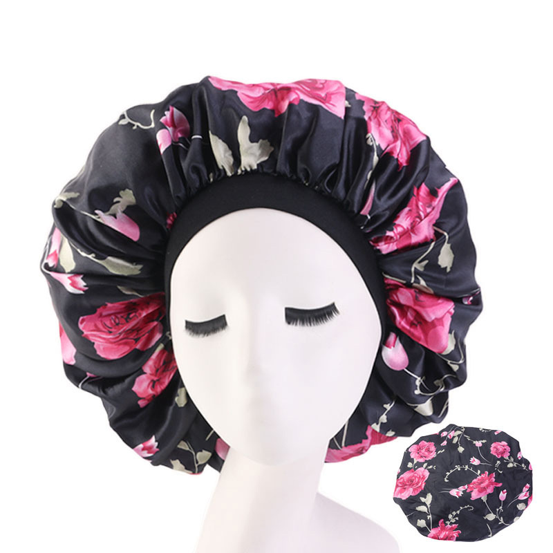 Lady Extra Large Hair Styling Caps Sleep Cap With Elastic Band Women Female Casual Satin Bonnet Sleeping Layer Smooth Hair Care