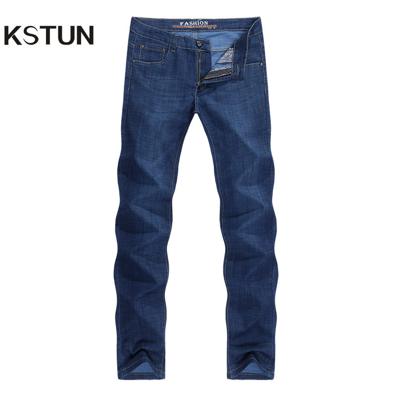 KSTUN Jeans For Men Famous Brand Dark Blue Summer Stretch Business Casual Male Straight Classic Trousers High Quality Big Size