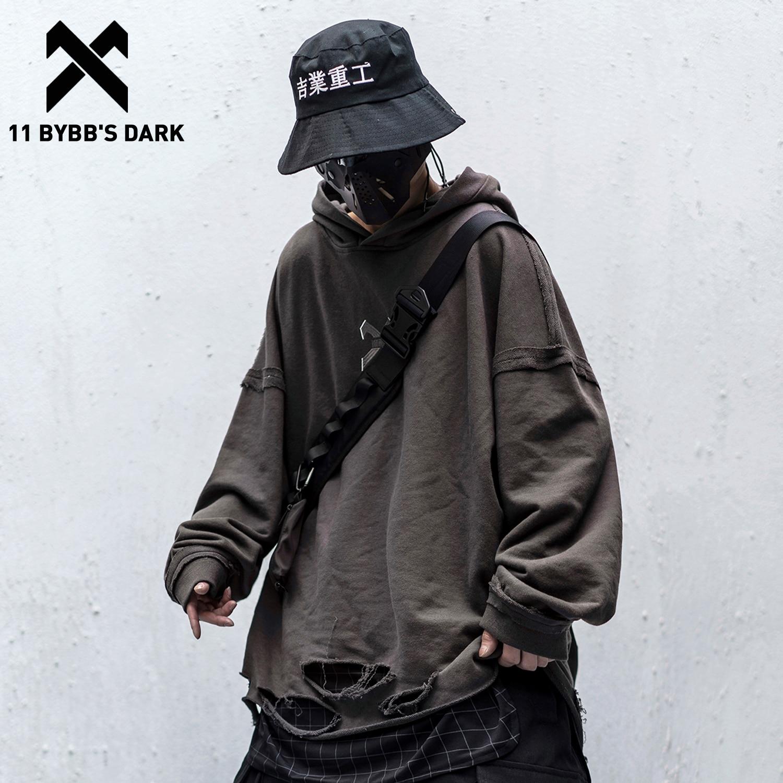 11 BYBB'S DARK Vintage Hole Letter Printed Hoodie Men 2020 Streetwear Hip Hop Loose Sweatshirts Techwear Fashion Hoodie Pulover