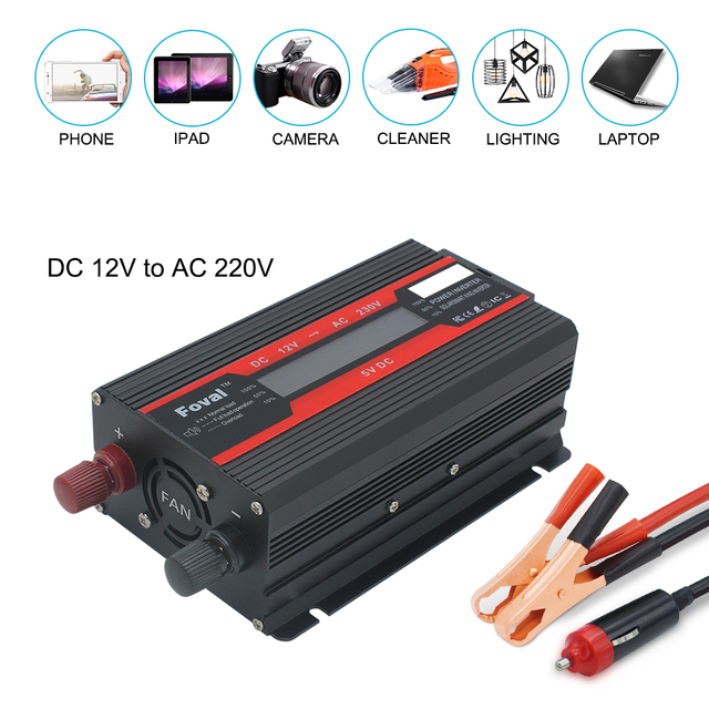 4000W power inverter Modified Sine Wave LCD display DC 12V to AC 220V Solar 2 USB car Transformer Convert EU socket 3