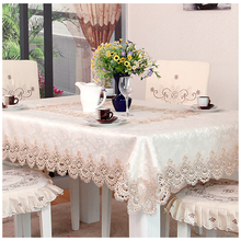 Lychee European Style Embroidery Table Cloth Simple Rectangle Cover Home Wedding Birthday Party Tablecloth