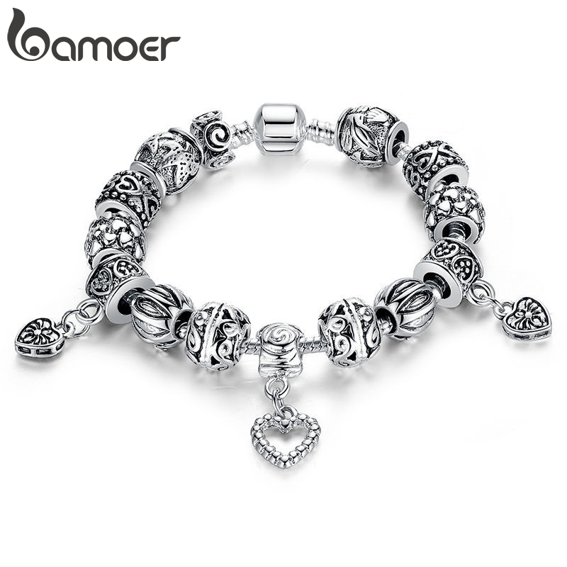 BAMOER Silver Plated Charm Bracelet & Bangle Silver Plated With Heart Pendant for Women Wedding Vintage Jewelry PA1431(China)