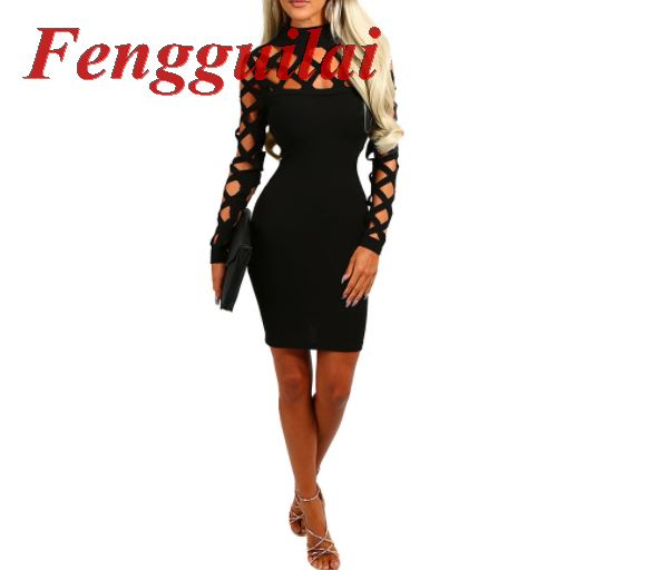 Women Dress 2018 New Fashion Hot Sale Back zipper sleeveless deep V metal lace with dress fashion hollow out women