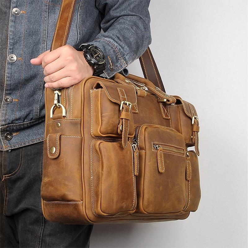 light brown Vintage Crazy Horse Genuine Leather Briefcase Handbag Shoulder Bag for Men