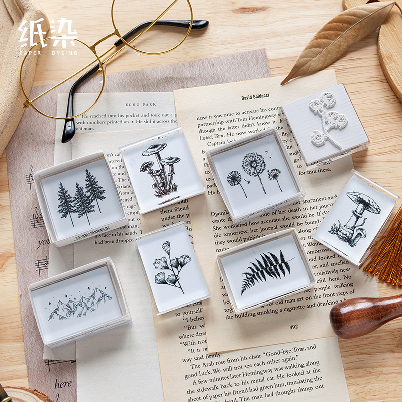 Forest Language Series Decoration Stamp Acrylic Transparent Plant Seal For Scrapbooking Stationery DIY Craft Standard Stamps