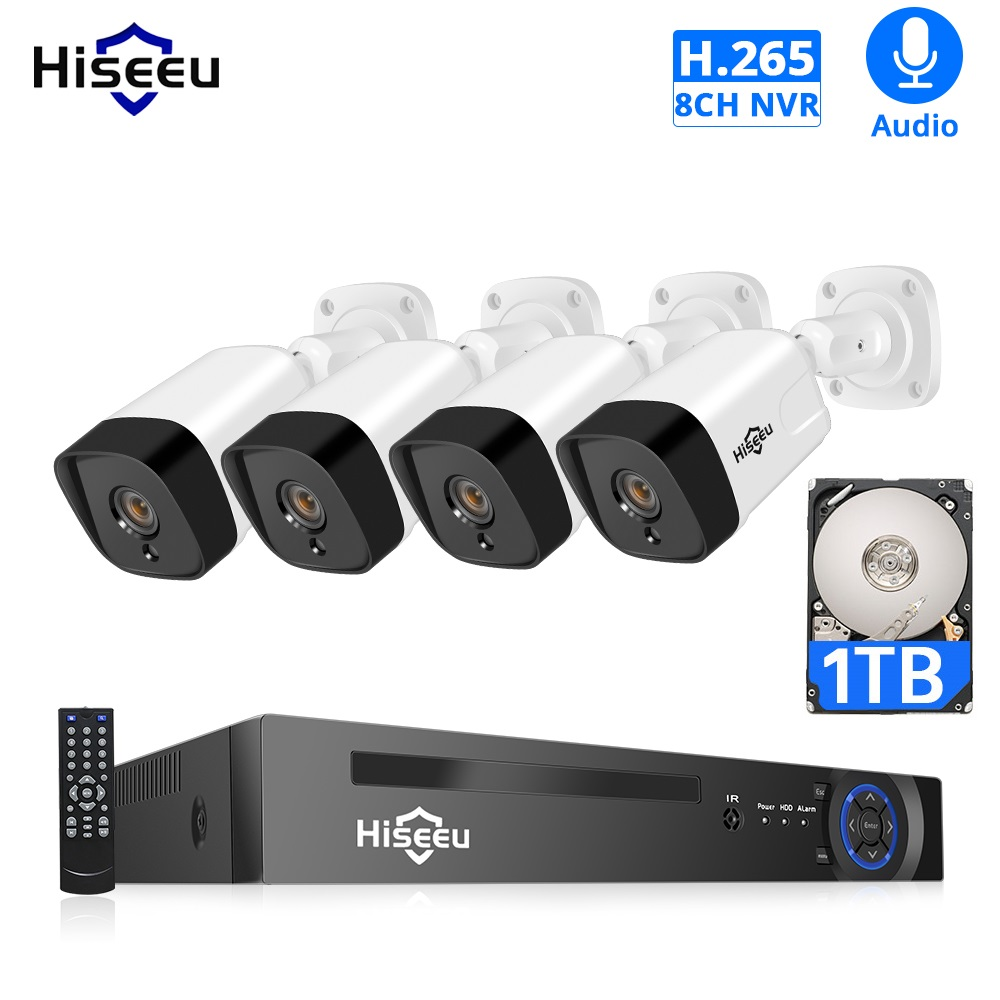 Hiseeu POE IP Camera Security System 5MP 8CH NVR AI Set H.265 Outdoor Weatherproof Audio 1T HDD P2P Video Surveillance Kit