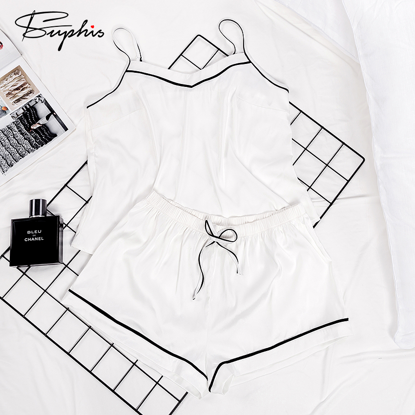 Suphis Spaghetti Strap Cami Top White Pajama Women Sleepwear Shorts Set Outfit Sleep Lounge Homewear PJ Set Casual Summer Pyjama