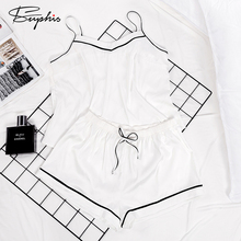Suphis Spaghetti Strap Cami Top White Pajama Women Sleepwear Shorts Set Outfit Sleep