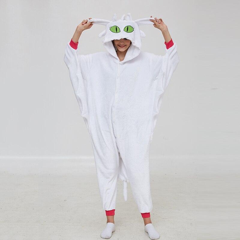 Animal Kigurumis Onesies Women Pajama Homewear Adult Cartoon Toothless Dragon Rompers Unisex Flannel Sleepwear Costume Apparel
