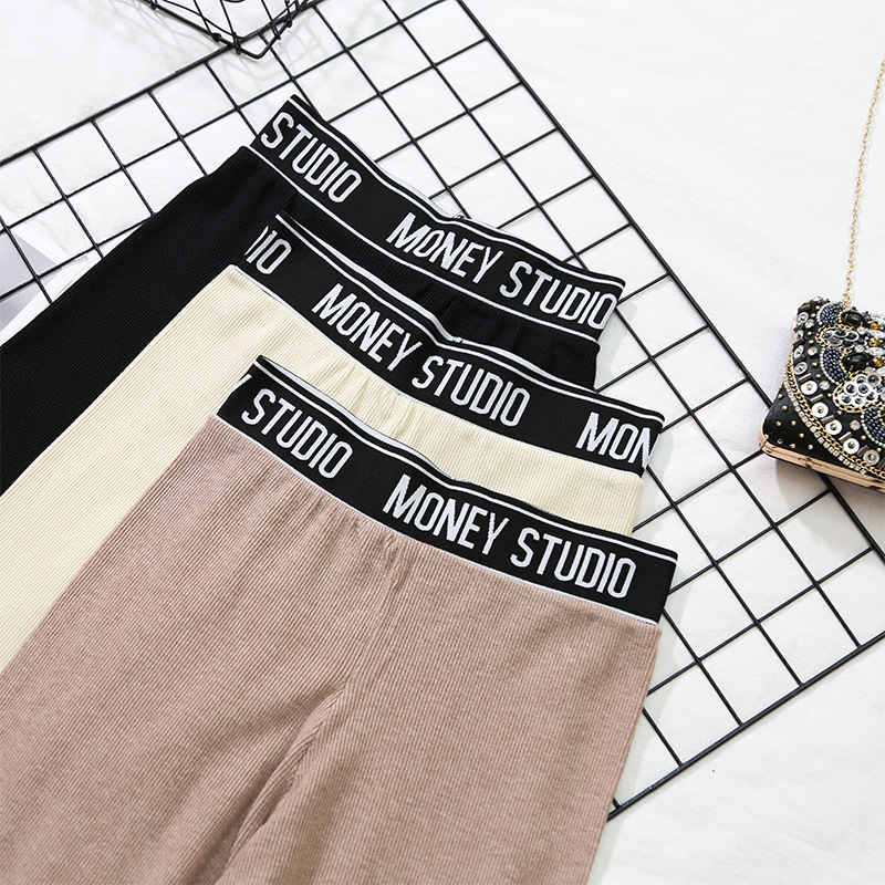 2019 Autumn New Style Korean-style Versatile <font><b>BF</b></font> Casual Knit Pants Elastic High-waisted Trousers Straight-leg Pants <font><b>Children</b></font> INS image