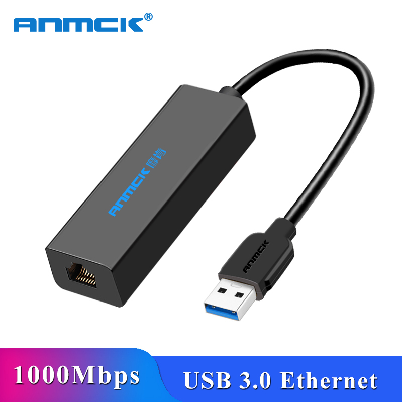 Anmck USB To RJ45 Ethernet Adapter USB 3.0 2.0 Lan (10/100/1000) Mbps Network Card For PC Laptop Windows 10 MAC OS Xiaomi Mi Box