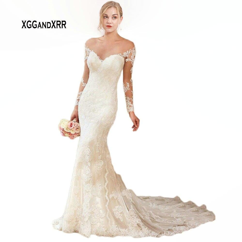 Romantic Mermaid Long Wedding Dress 2019 V Neck Off The Shoulder Long Sleeves Lace Bridal Gown Chapel Train Formal Bride Dress
