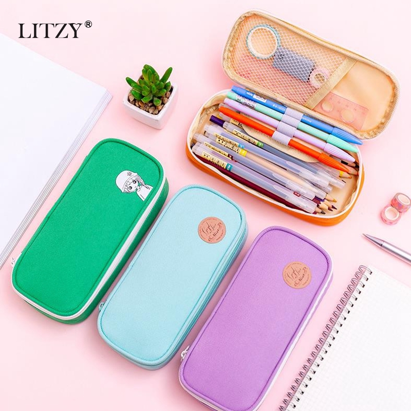 Solid Color <font><b>Big</b></font> <font><b>Pencil</b></font> <font><b>Case</b></font> School <font><b>Pencil</b></font> <font><b>Case</b></font> for Girls Boys Kawaii Pencilcase <font><b>Canvas</b></font> <font><b>Pencil</b></font> Box Bag School Supplies Stationery image