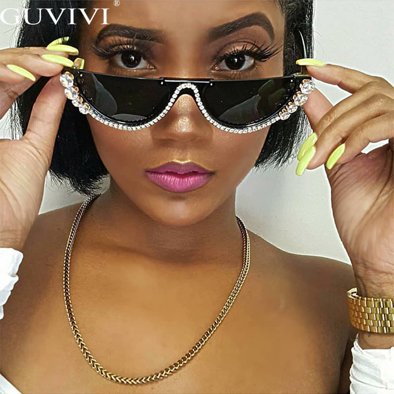 Diamond Cat Eye Sunglasses Women Semi-Rimless Sun Glasses Luxury Brand Designer Crystal Sexy Frame Rhinestone Eyewear Oculos