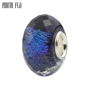 925 Sterling Silver Blue Purple Round Murano Glass Bead Charms Fit For European Original Bracelet Necklace DIY Jewelry Makings