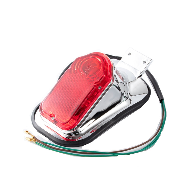 12v Motorcycle Bike Chrome Red Tombstone Brake Tail Light Signal Lamp For Harley Custom