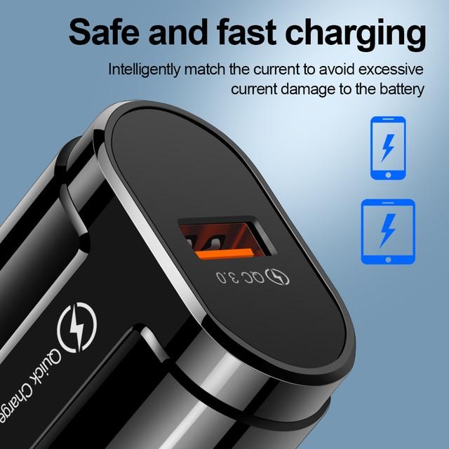 OLAF Charge rapide QC3.0 USB US EU chargeur rapide universel téléphone portable chargeur mural USB chargeur adaptateur pour iPhone Samsung Xiaomi