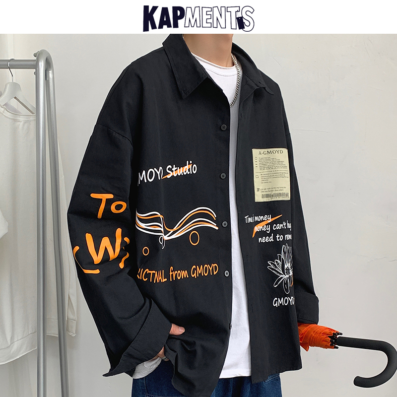 KAPMENTS <font><b>Men</b></font> Streetwear Printed Casual <font><b>Shirts</b></font> 2020 Man Harajuku Japan <font><b>Style</b></font> <font><b>Shirt</b></font> Couple <font><b>Korean</b></font> <font><b>Oversized</b></font> Long Sleeve Clothing image