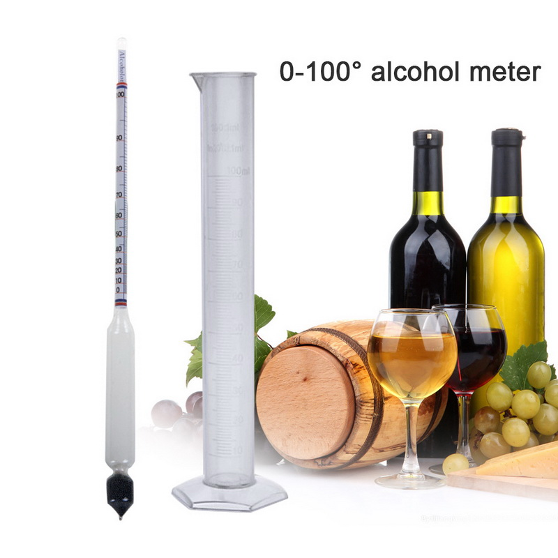 Hydrometer Tester Vintage Measuring Bottle Set Tools Alcoholmeter Alcohol Meter Wine Concentration Meter 0-100 Hydrometer Alcoho