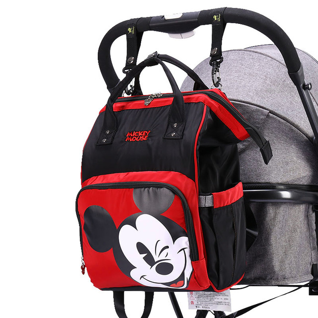 Disney Diaper Bag Travel Hook Mickey Stroller Mommy Backpack for Mom Baby Care Bags Large Capacity Maternity Nappy Wet Bag USB | Happy Baby Mama