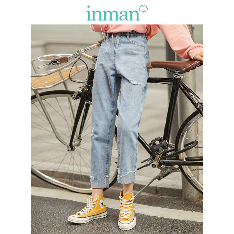 INMA 2020 Spring New Arrival Personality Ripped Irregular Slim Women Jeans