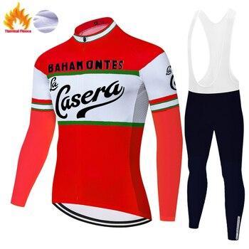 Casera team-ropa térmica de lana para ciclismo para hombre, pantalones con almohadillas...