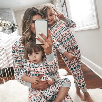Christmas Clothing Set Children Clothing Christmas Family Parent-child Suit Printing Home Service Cotton Soft Two-piece Pajamas
