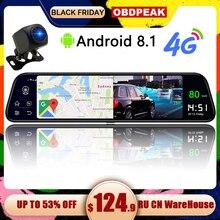 Двойной видеорегистратор 1080 P, 4G, 12 дюймов, СТРИМ медиа, Android, зеркало, Автомобильное зеркало заднего вида, Автомобильный видеорегистратор ADAS Super night до и после FHD