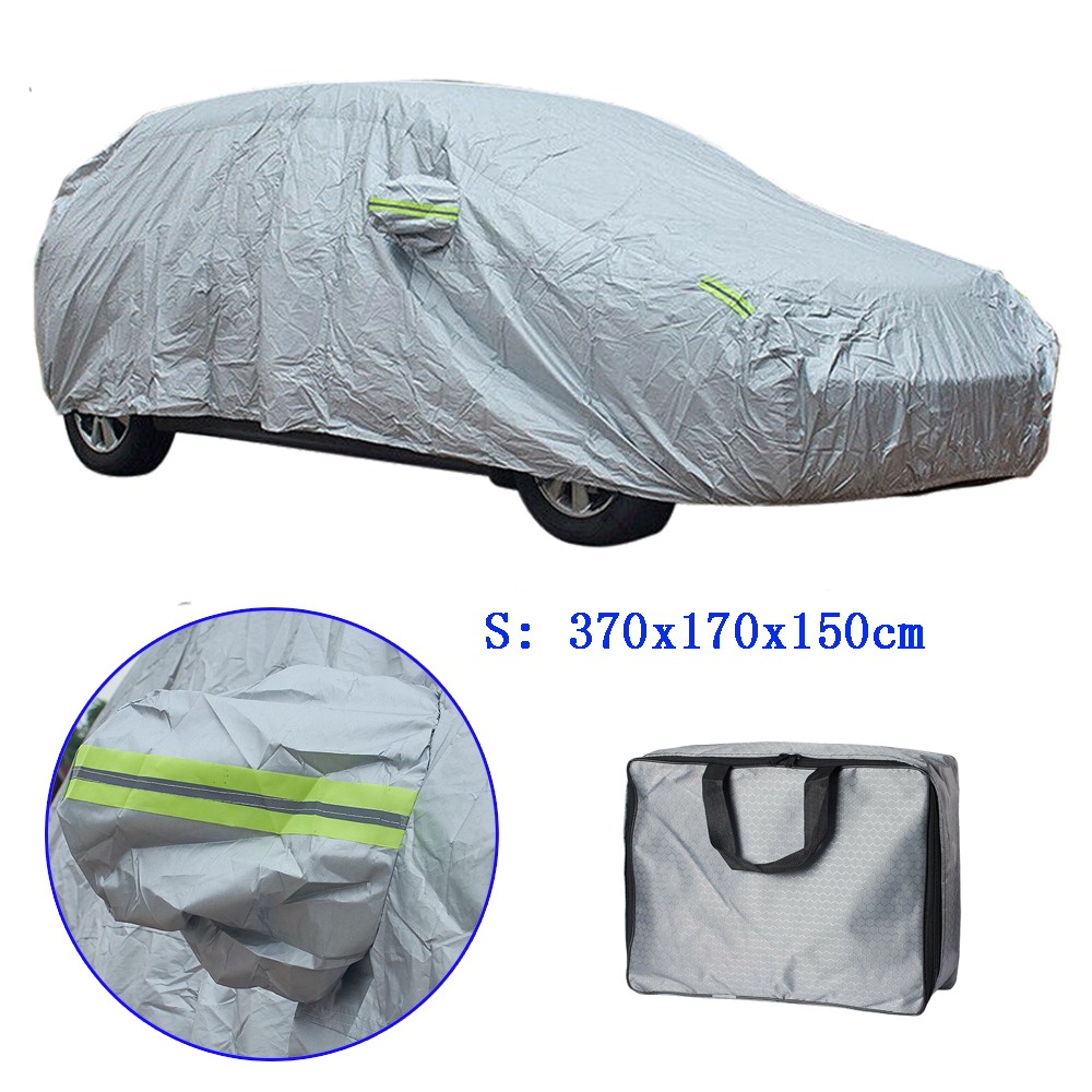 Small Hatchback Car Cover Full Coverage Waterproof Outdoor Snow Frost All Weather Protection Body Cover 3.7x1.7x1.5M