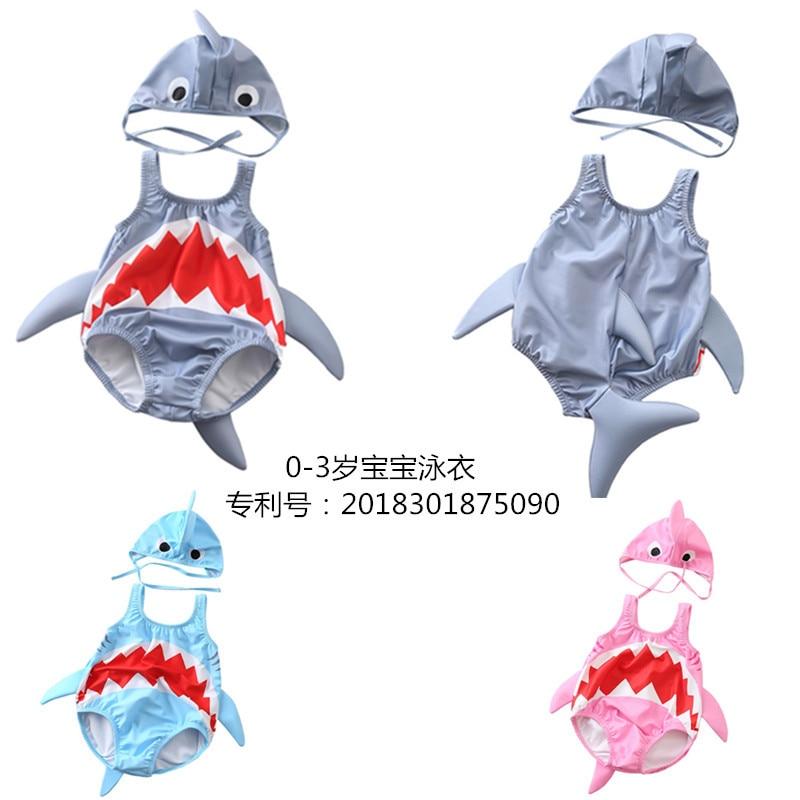 2018 Billion Bo Crossing New Style KID'S Swimwear Men And Women Baby Swimming Cute Shark Swimwear Babies' One-piece Swimsuit