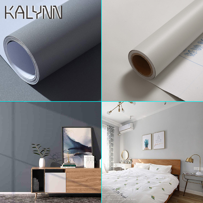 Matte Gray Vinyl Self Adhesive Wallpaper For Kitchen Cabinet Living Room Bedroom Wall Decoration Contact Paper 60cm Diy Stickers