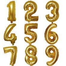 Матовое золото Алюминий пленки воздушный шар 16-дюймовый шпилька с цифрами шары для свадьбы и дня рождения украшения Алюминий пленка 16-дюймовый шпилька жемчуг золота с