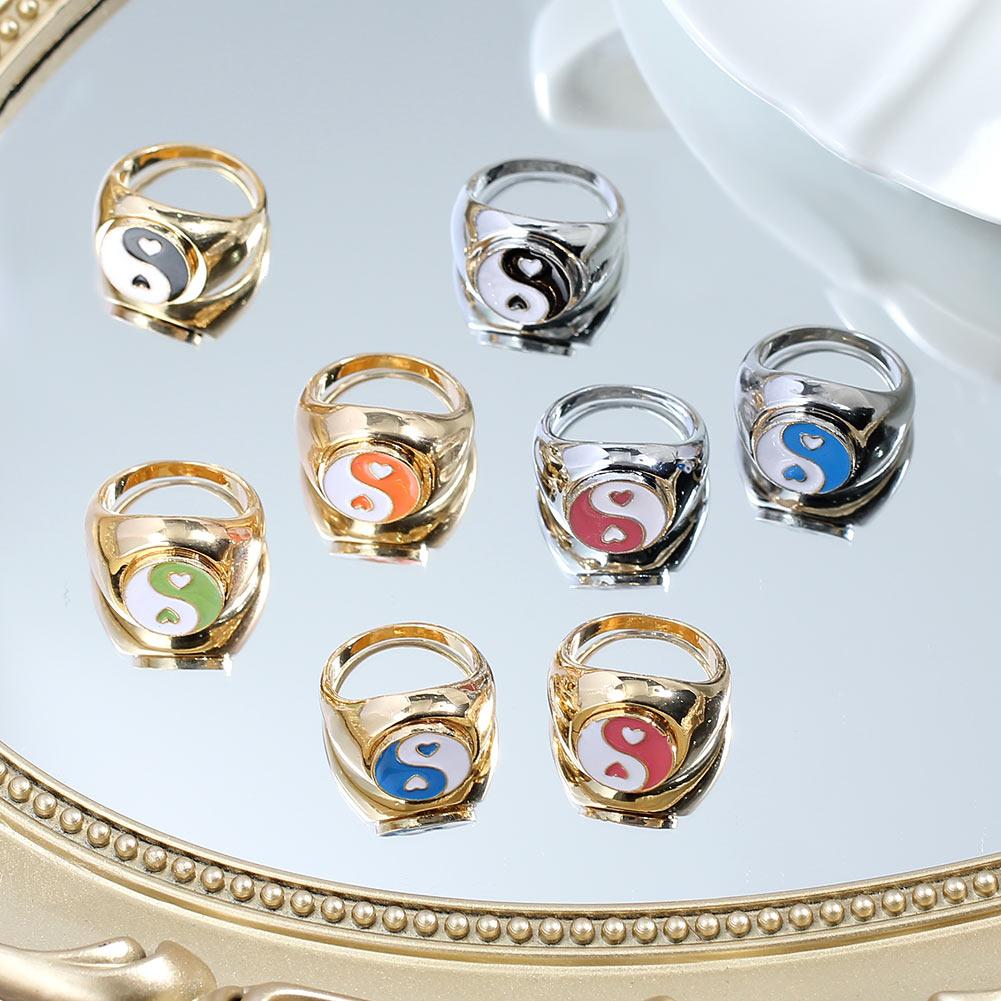 Корейский 2021 Лидер продаж Сердце Металл Инь (железная Гуаньинь) и кольца Янг для женщин; Цвет золотистый, серебристый Цвет милые эмали живот...