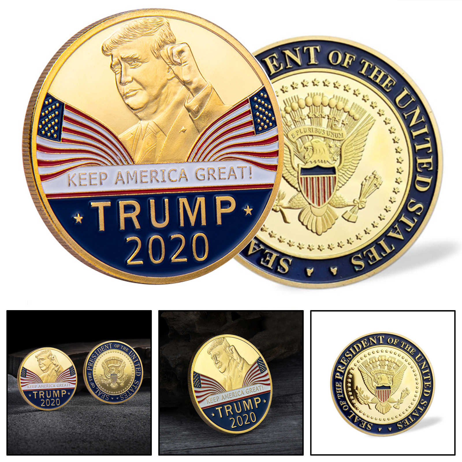 Areyourshop President Donald Trump 2020 Houden Amerika Grote Commemorative Uitdaging Eagle Coin 40 Mm