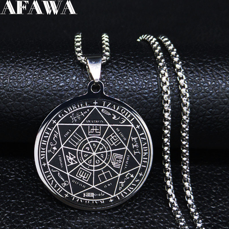 Fashion Witchcra Pentagram Black Enamel Stainless Steel Choker Necklaces Chain Men Jewelry collar acero inoxidable mujer N20159
