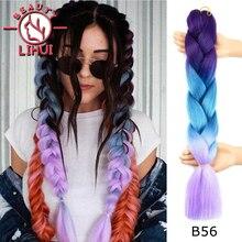 Jumbo Hair Hair-Extensions Braiding-Hair Blonde Purple LIHUI Blue Ombre Synthetic Wholesale