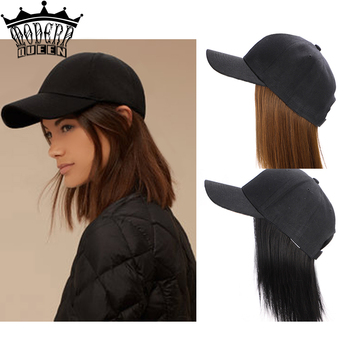 houyan sbaseball hat straight hair heat resistant fiber wig synthetic short heat resistant fiber cut short wig MODERN QUEEN 8Short BOB Synthetic Baseball Cap Hair Wig With Short 8 Straight Bob Hair Heat Resistant Fiber Hair Wig for Women