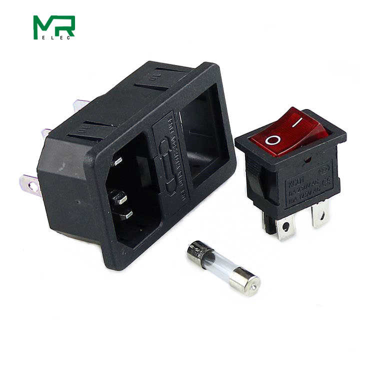 10A 250VAC 3 Pin iec320 C14 złącze wlotu wtyczka zasilania gniazdo z czerwona lampa przełącznik kołyskowy 10A bezpiecznik gniazdo uchwytu wyłącznik zasilania