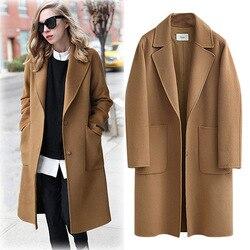 Casaco de inverno plus size feminino outono elegante lapela manga longa quente lã longa jaqueta estilo coreano senhora do escritório camelo solto casaco