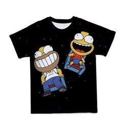 2021 śliczne Simpsons letnie nowe męskie 3D T-Shirt z nadrukiem moda na zewnątrz Cartoon Anime luźne okrągły dekolt Tee rodziców i dzieci odzież dziecięca