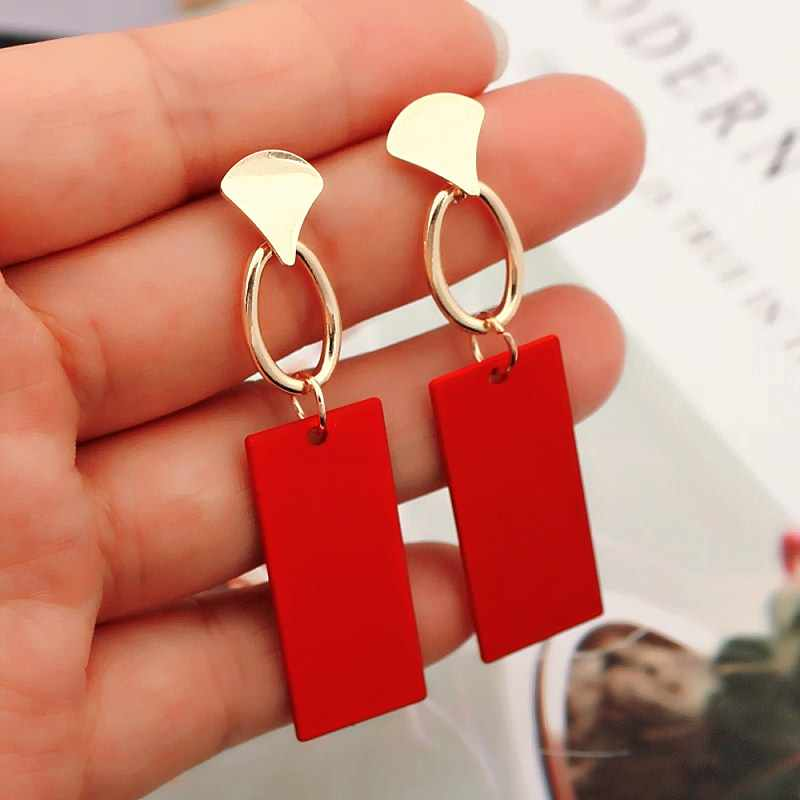 Fashion Gold Color Irregular Drop Earrings For Women Brincos Vintage Red Green White Yellow Earring 2019 Korean Jewelry Female