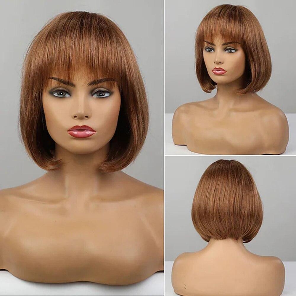 human hair Blend Wig Brown short Bob straight Asymmetrical With Full Bangs Blonde Women