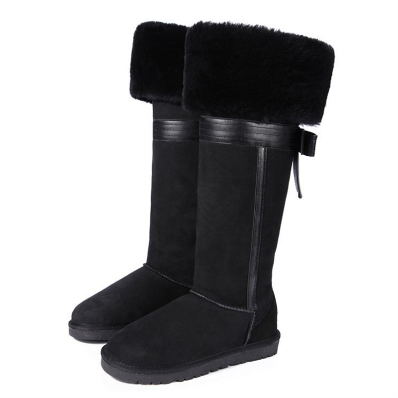 Real Sheepskin Snow Boots Knee High Boots Genuine Leather Bow Warm Shoes Natural Wool Sheep Fur Long Women's Boots