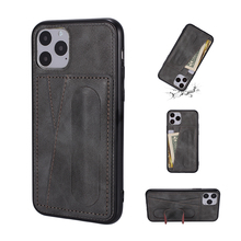 Business Card Folding Bracket Couples Case For Samsung S9 Note 8 10 20 S20 S21 Plus Luxury Solid Leather Soft Protector Cover