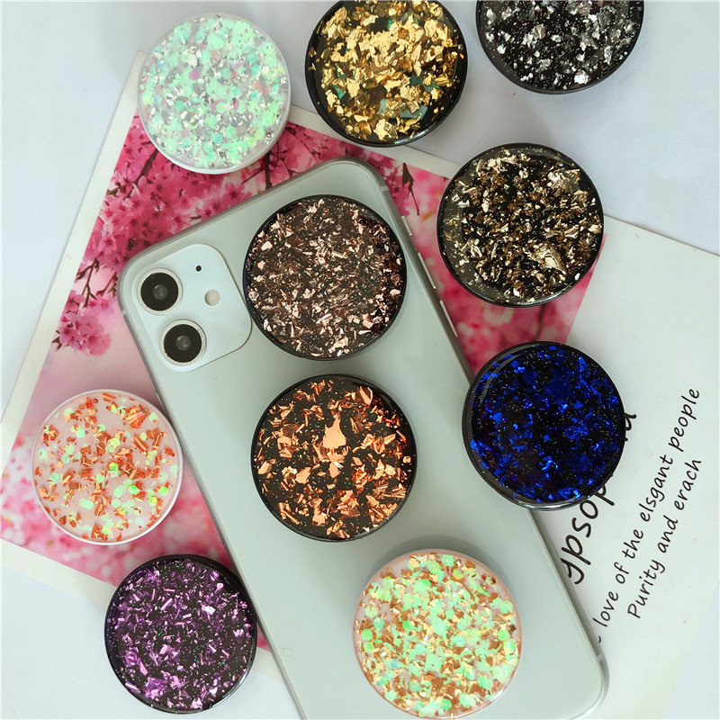 Universal Mobile Phone Holder Glitter Powder Glue Airbag Mobile Phone Extension Rack Finger Holder Lazy Mobile Phone Holder