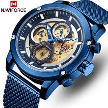 גברים שעון NAVIFORCE למעלה מותג קוורץ יוקרה שעונים צבאיים גברים של שעונים לוח שנה אנלוגי שעון זכר שעון Relogio Masculino